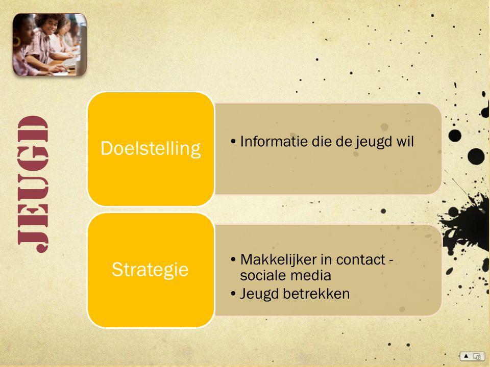 Jeugd Informatie die de jeugd wil Doelstelling Makkelijker in contact - sociale media Jeugd betrekken Strategie