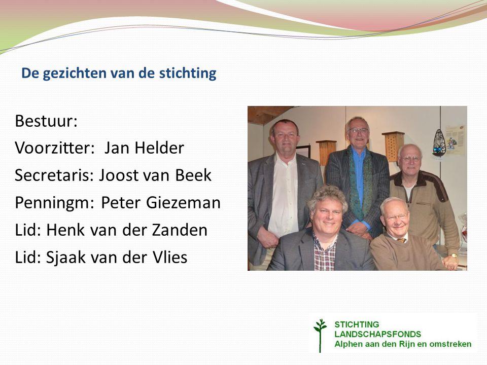 De gezichten van de stichting Bestuur: Voorzitter: Jan Helder Secretaris: Joost van Beek Penningm: Peter Giezeman Lid: Henk van der Zanden Lid: Sjaak