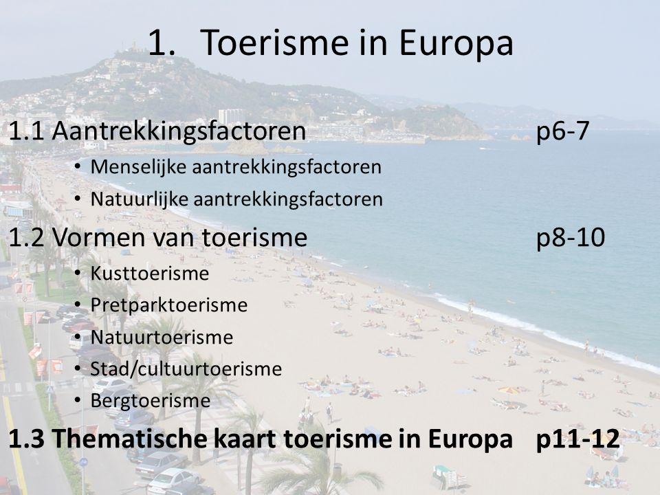 1.Toerisme in Europa 1.1 Aantrekkingsfactorenp6-7 Menselijke aantrekkingsfactoren Natuurlijke aantrekkingsfactoren 1.2 Vormen van toerismep8-10 Kustto