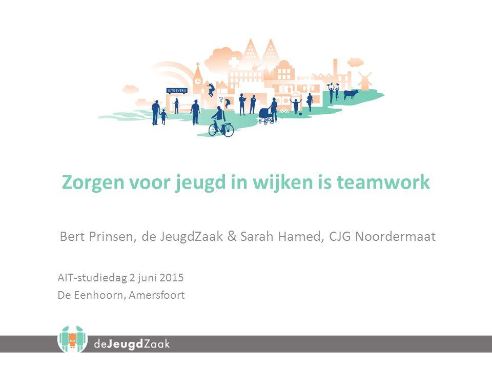 Zorgen voor jeugd in wijken is teamwork Bert Prinsen, de JeugdZaak & Sarah Hamed, CJG Noordermaat AIT-studiedag 2 juni 2015 De Eenhoorn, Amersfoort