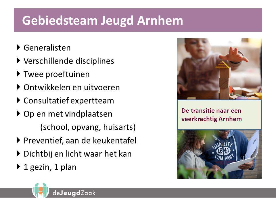 Gebiedsteam Jeugd Arnhem  Generalisten  Verschillende disciplines  Twee proeftuinen  Ontwikkelen en uitvoeren  Consultatief expertteam  Op en me