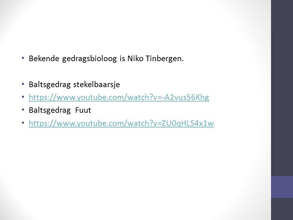 Bekende gedragsbioloog is Niko Tinbergen. Baltsgedrag stekelbaarsje https://www.youtube.com/watch?v=-A2vus56Khg Baltsgedrag Fuut https://www.youtube.c