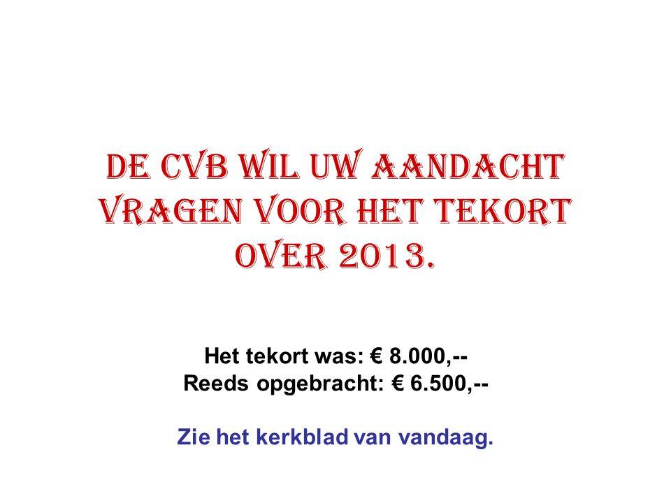 De CVB wil uw aandacht vragen voor het tekort over 2013. Het tekort was: € 8.000,-- Reeds opgebracht: € 6.500,-- Zie het kerkblad van vandaag.