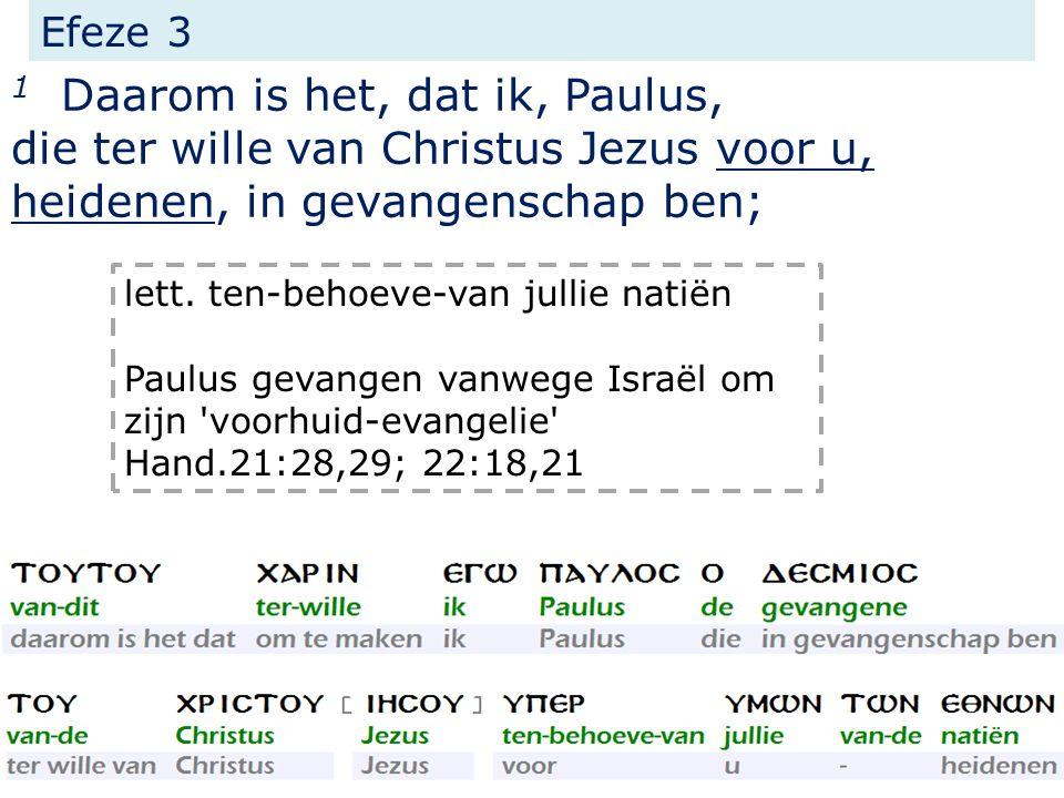 Efeze 3 1 Daarom is het, dat ik, Paulus, die ter wille van Christus Jezus voor u, heidenen, in gevangenschap ben; lett.