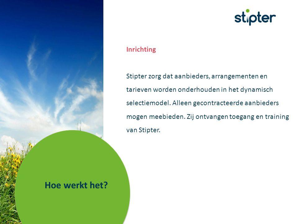 Inrichting Stipter zorg dat aanbieders, arrangementen en tarieven worden onderhouden in het dynamisch selectiemodel.
