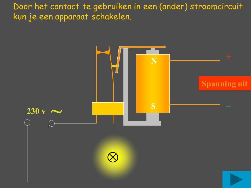 +_+_ NSNS Spanning uit Door het contact te gebruiken in een (ander) stroomcircuit kun je een apparaat schakelen. ~ 230 v