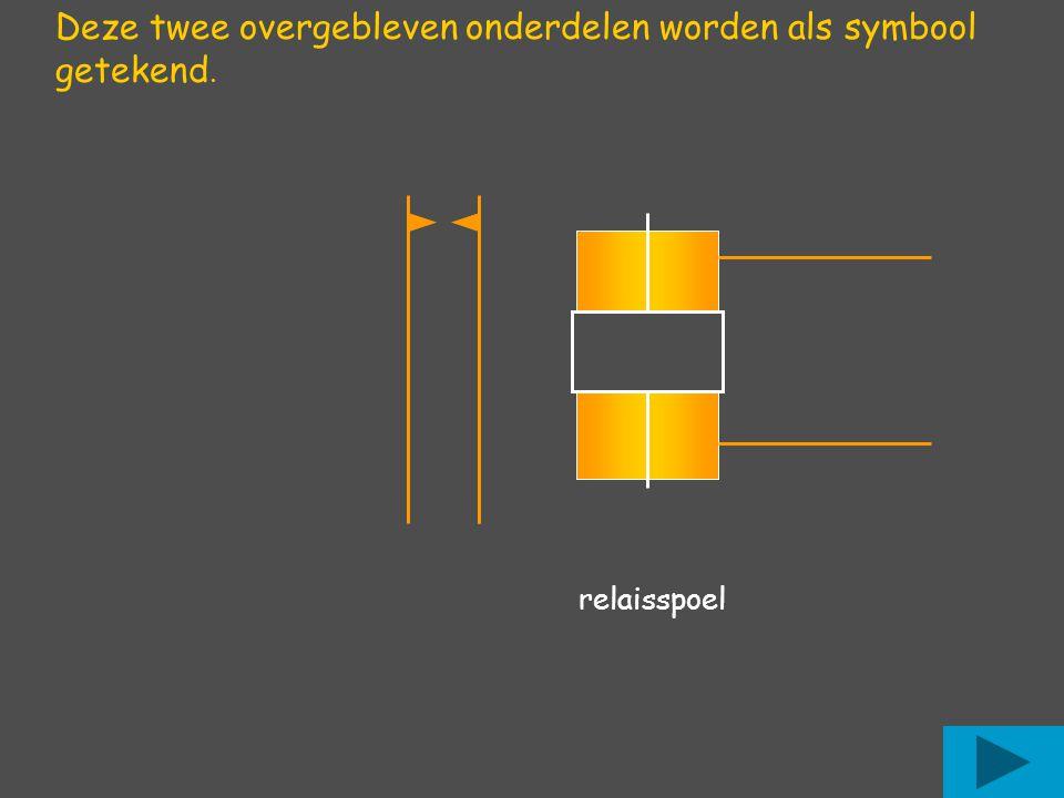 Deze twee overgebleven onderdelen worden als symbool getekend. relaisspoel
