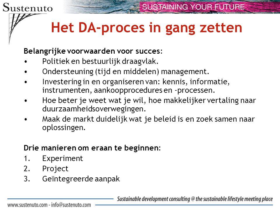 Het DA-proces in gang zetten Belangrijke voorwaarden voor succes: Politiek en bestuurlijk draagvlak.