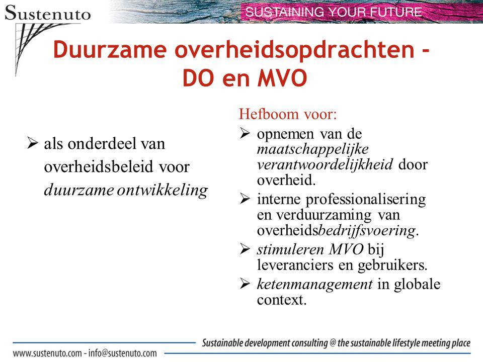 Welke vragen moet een organisatie zich stellen die duurzame overheidsopdrachten onderdeel wil maken van MVO?