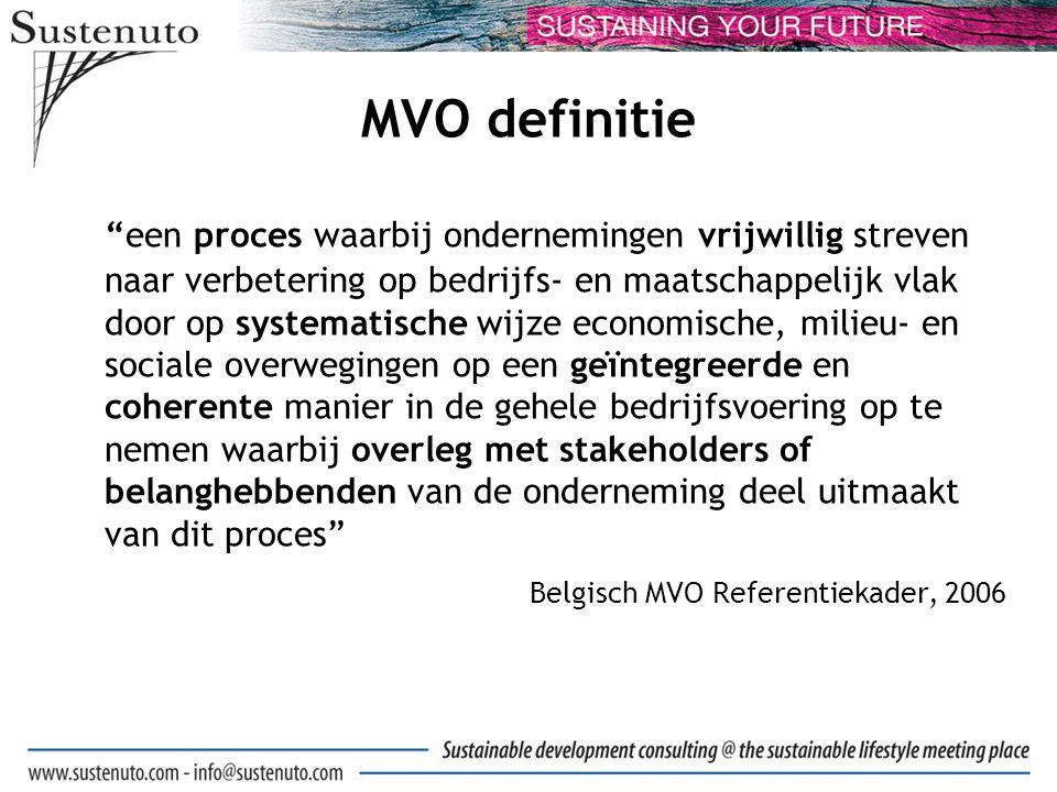 MVO definitie een proces waarbij ondernemingen vrijwillig streven naar verbetering op bedrijfs- en maatschappelijk vlak door op systematische wijze economische, milieu- en sociale overwegingen op een geïntegreerde en coherente manier in de gehele bedrijfsvoering op te nemen waarbij overleg met stakeholders of belanghebbenden van de onderneming deel uitmaakt van dit proces Belgisch MVO Referentiekader, 2006