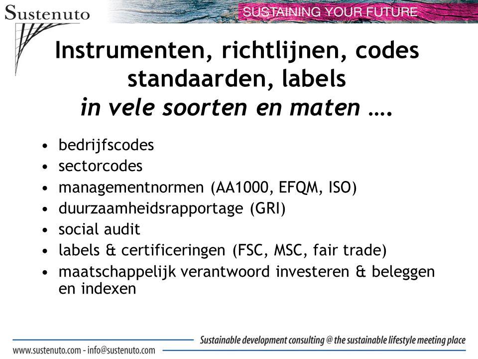 Instrumenten, richtlijnen, codes standaarden, labels in vele soorten en maten ….