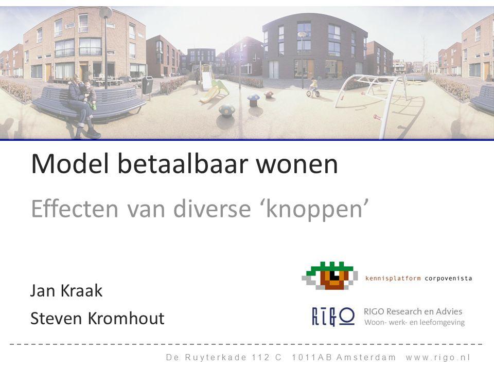 De Ruyterkade 112 C 1011AB Amsterdam www.rigo.nl Model betaalbaar wonen Effecten van diverse 'knoppen' Jan Kraak Steven Kromhout