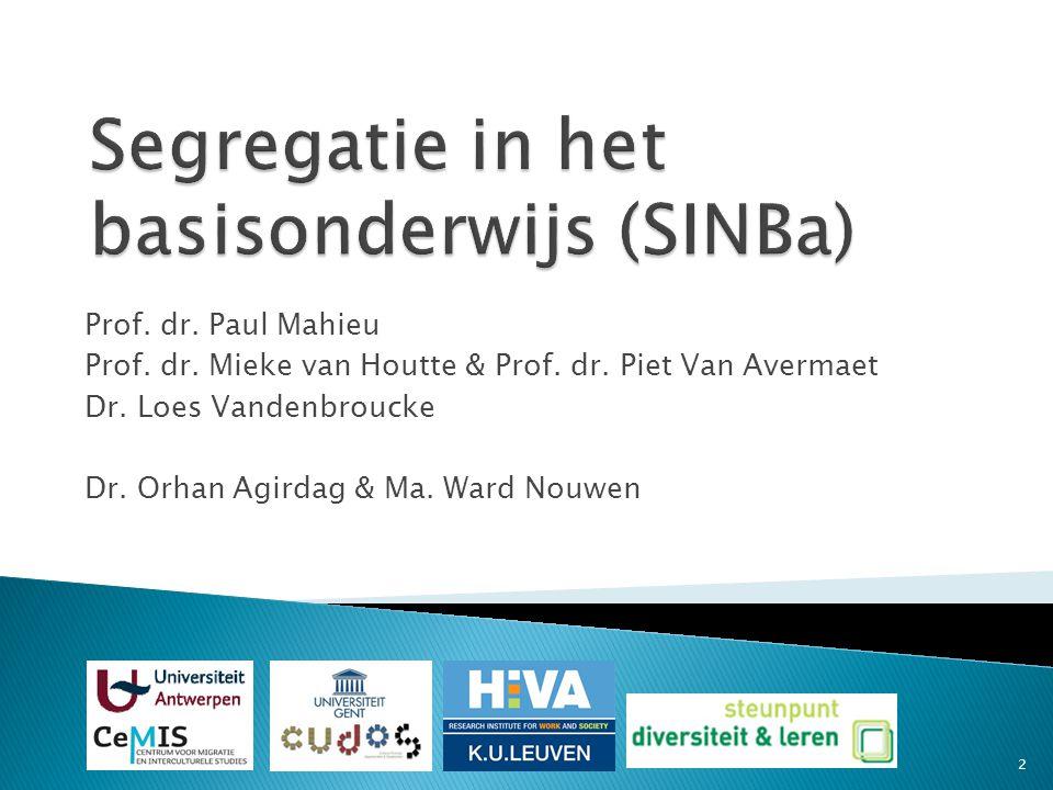 Segregatie in het basisonderwijs (SINBa) Prof. dr.