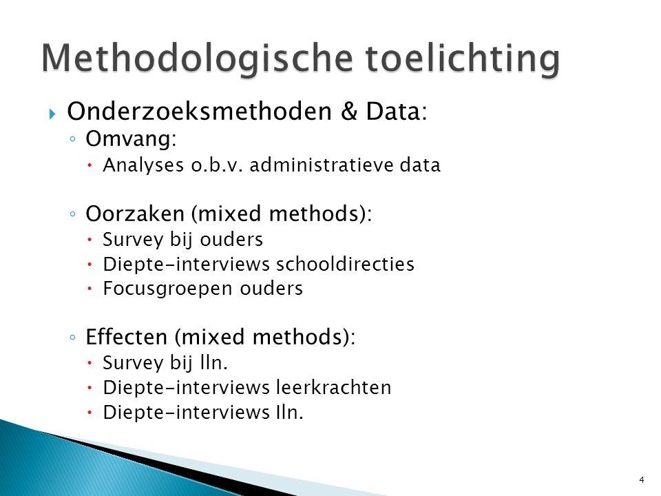  Onderzoeksmethoden & Data: ◦ Omvang:  Analyses o.b.v. administratieve data ◦ Oorzaken (mixed methods):  Survey bij ouders  Diepte-interviews scho