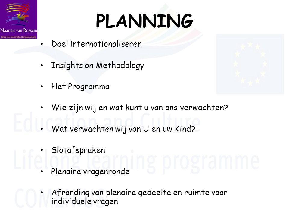 PLANNING Doel internationaliseren Insights on Methodology Het Programma Wie zijn wij en wat kunt u van ons verwachten.
