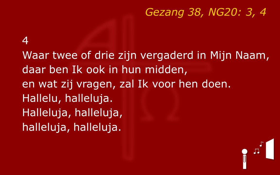 Gezang 38, NG20: 3, 4 4 Waar twee of drie zijn vergaderd in Mijn Naam, daar ben Ik ook in hun midden, en wat zij vragen, zal Ik voor hen doen. Hallelu