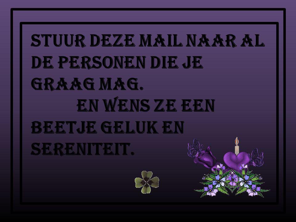 Stuur deze mail naar al de personen die je graag mag. en wens ze een beetje geluk en sereniteit.