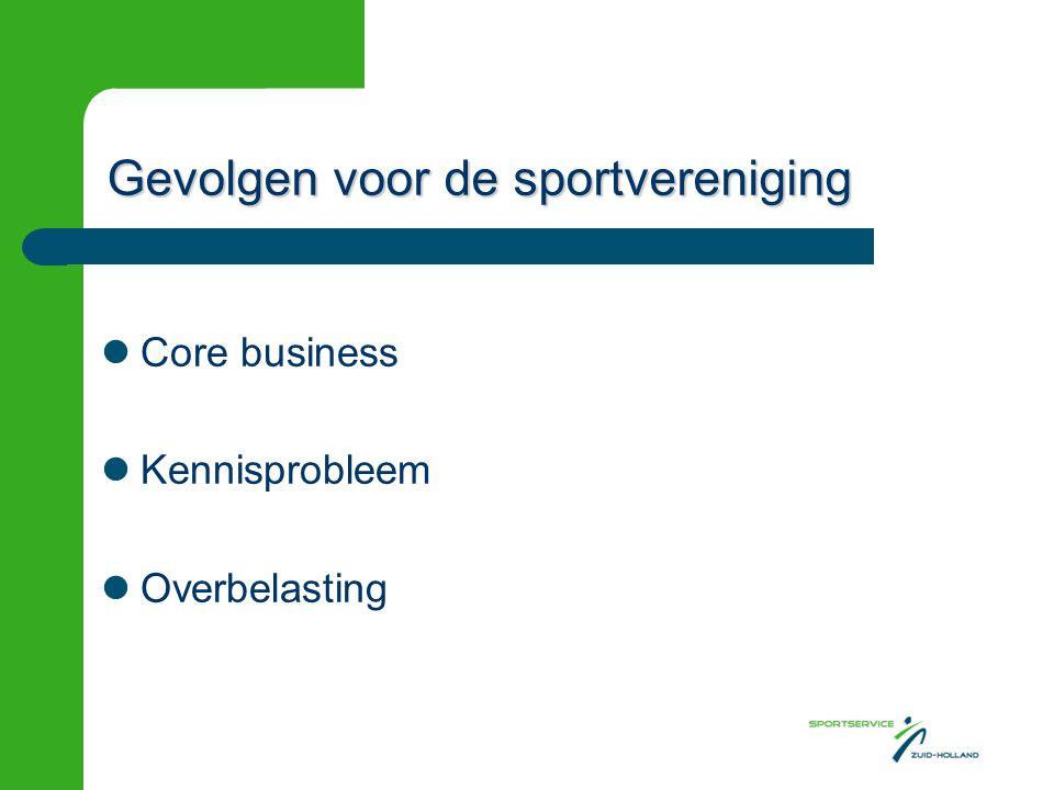 Gevolgen voor de sportvereniging Core business Kennisprobleem Overbelasting