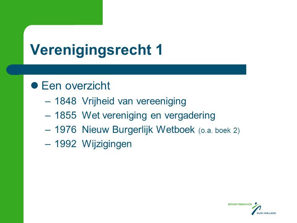 Verenigingsrecht 1 Een overzicht –1848 Vrijheid van vereeniging –1855 Wet vereniging en vergadering –1976 Nieuw Burgerlijk Wetboek (o.a. boek 2) –1992