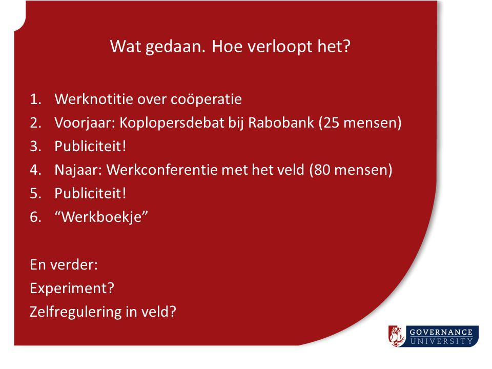 Wat gedaan. Hoe verloopt het? 1.Werknotitie over coöperatie 2.Voorjaar: Koplopersdebat bij Rabobank (25 mensen) 3.Publiciteit! 4.Najaar: Werkconferent