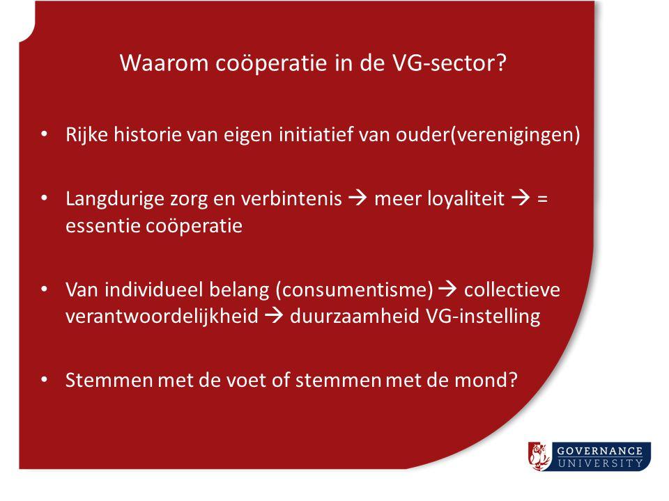 Coöperatie-vormen in de VG-sector 1.Vrijwillige omzetting van zorgstichting naar zorgcoöperatie  initiatief RvB 2.Onvrijwillige omzetting ('overname') van zorgstichting naar zorgcoöperatie  initiatief clienten/verwanten (evt via PGB) 3.Collectiviteit van PGB-houders 4.Nieuw initiatief in nieuwe/bestaande markt  van 'lege coöperatie' naar 'zorgcoöperatie'