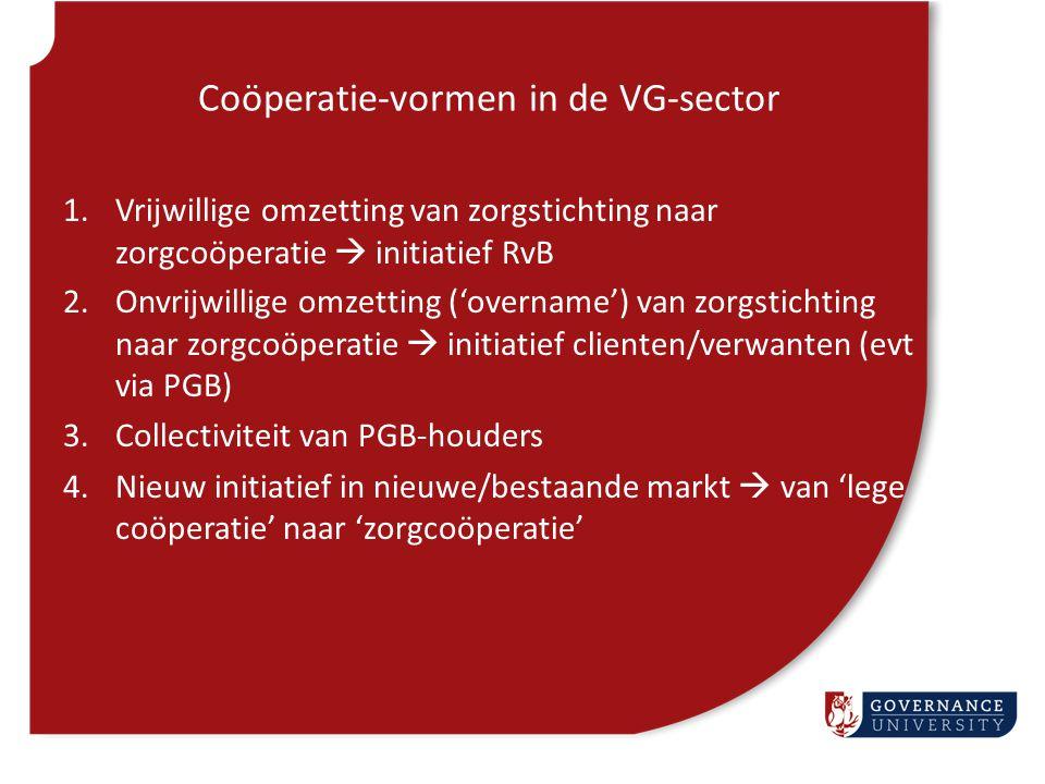 Coöperatie-vormen in de VG-sector 1.Vrijwillige omzetting van zorgstichting naar zorgcoöperatie  initiatief RvB 2.Onvrijwillige omzetting ('overname'