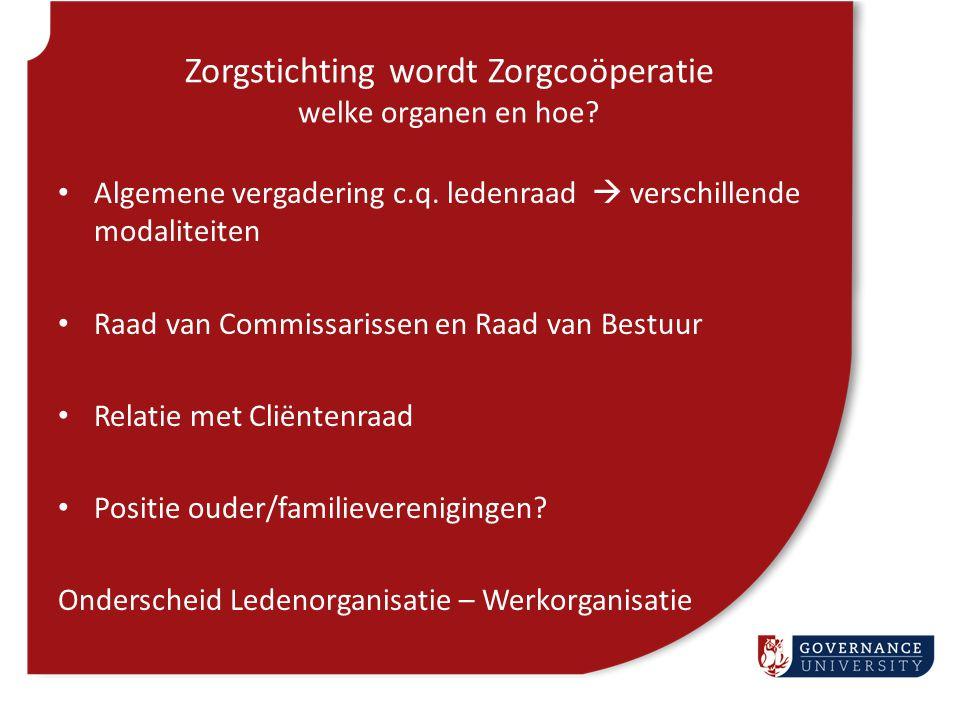 Zorgstichting wordt Zorgcoöperatie welke organen en hoe? Algemene vergadering c.q. ledenraad  verschillende modaliteiten Raad van Commissarissen en R