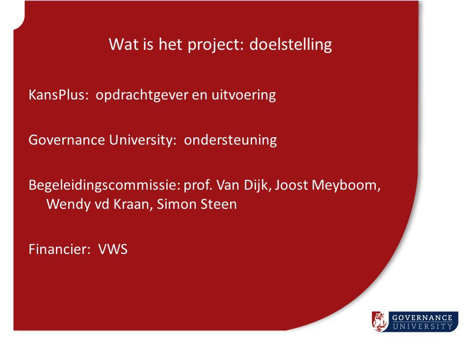 Wat is het project: doelstelling KansPlus: opdrachtgever en uitvoering Governance University: ondersteuning Begeleidingscommissie: prof. Van Dijk, Joo