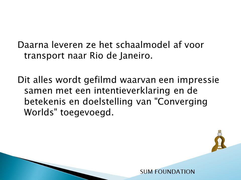 Daarna leveren ze het schaalmodel af voor transport naar Rio de Janeiro. Dit alles wordt gefilmd waarvan een impressie samen met een intentieverklarin