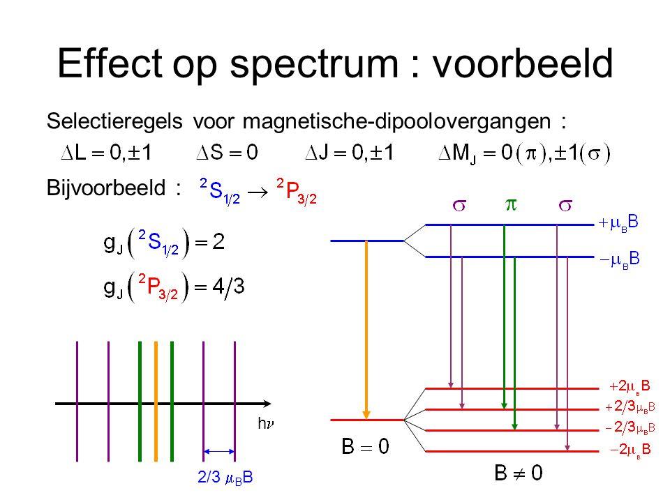 Effect op spectrum : voorbeeld Selectieregels voor magnetische-dipoolovergangen : Bijvoorbeeld : h 2/3  B B