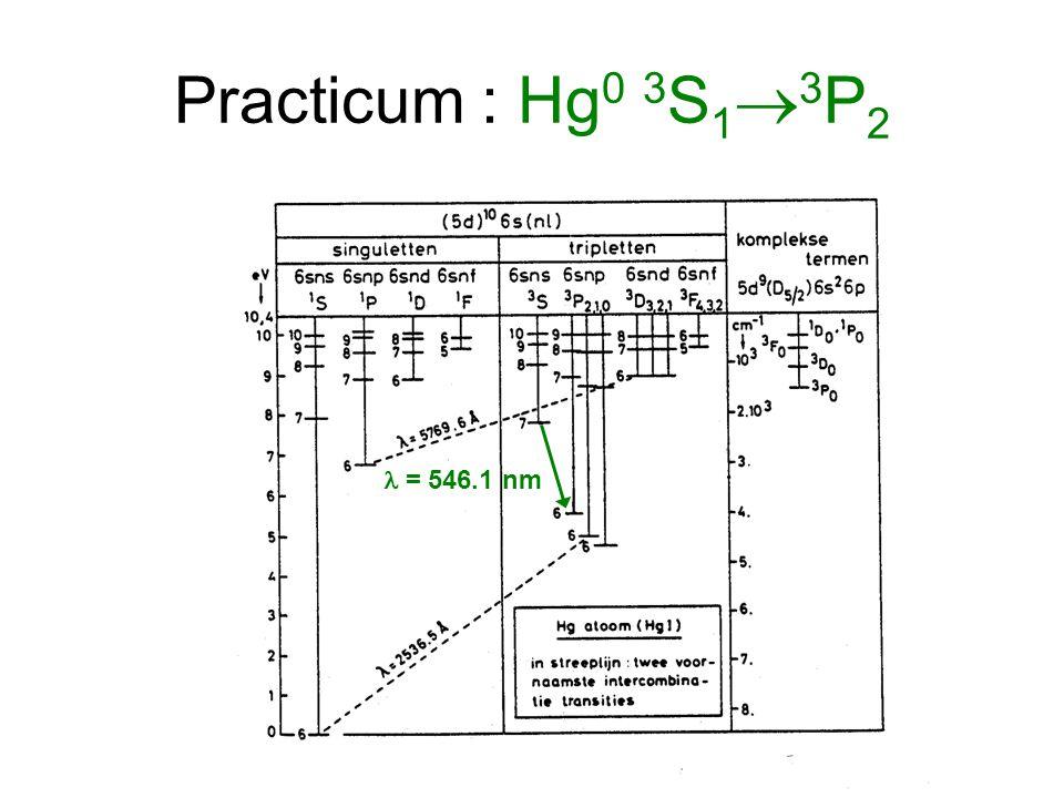 Practicum : Hg 0 3 S 1  3 P 2 = 546.1 nm