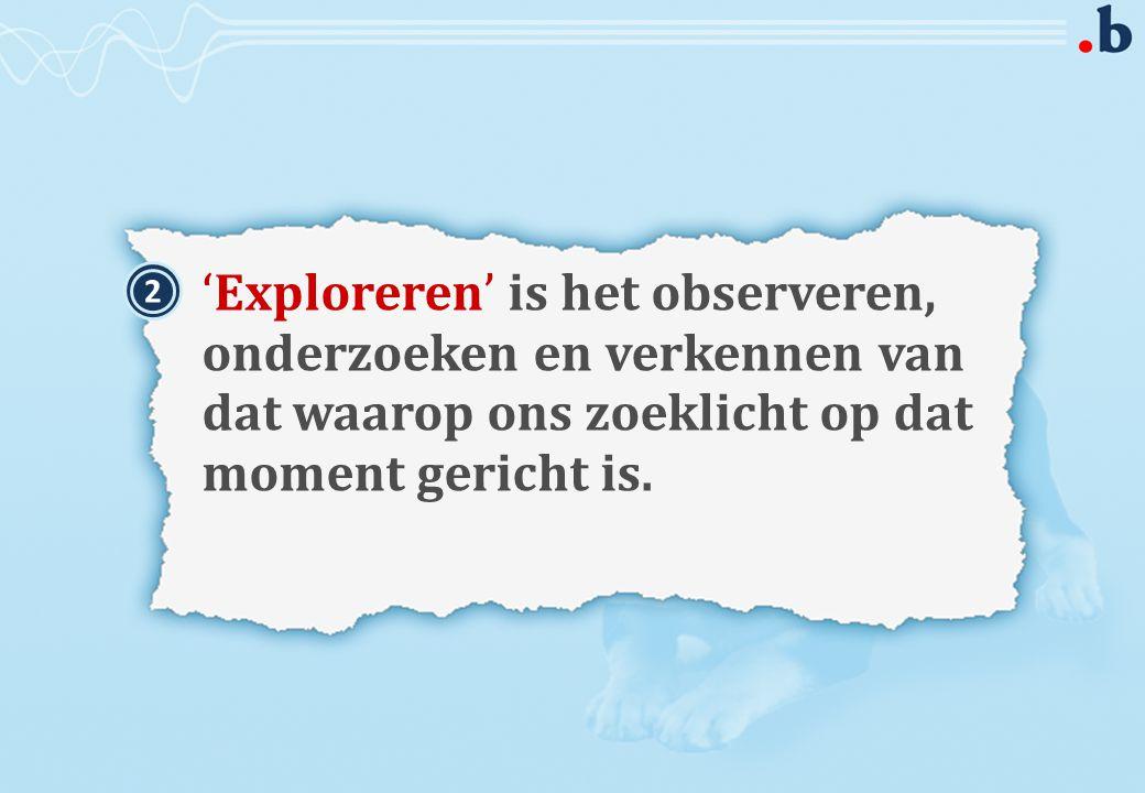 'Exploreren' is het observeren, onderzoeken en verkennen van dat waarop ons zoeklicht op dat moment gericht is.