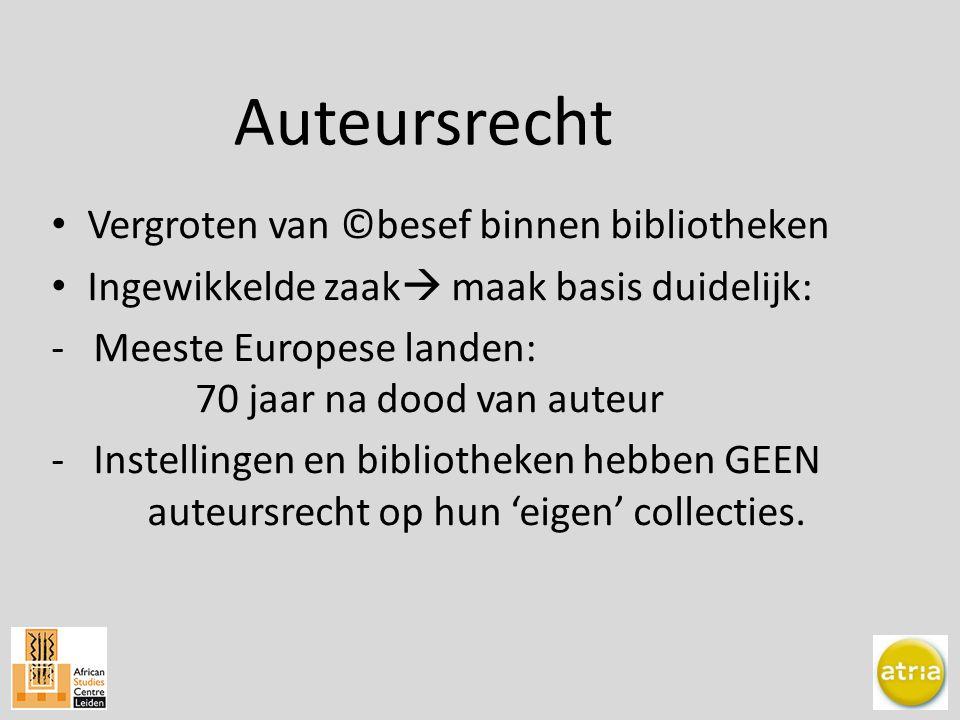 Vergroten van ©besef binnen bibliotheken Ingewikkelde zaak  maak basis duidelijk: - Meeste Europese landen: 70 jaar na dood van auteur - Instellingen en bibliotheken hebben GEEN auteursrecht op hun 'eigen' collecties.
