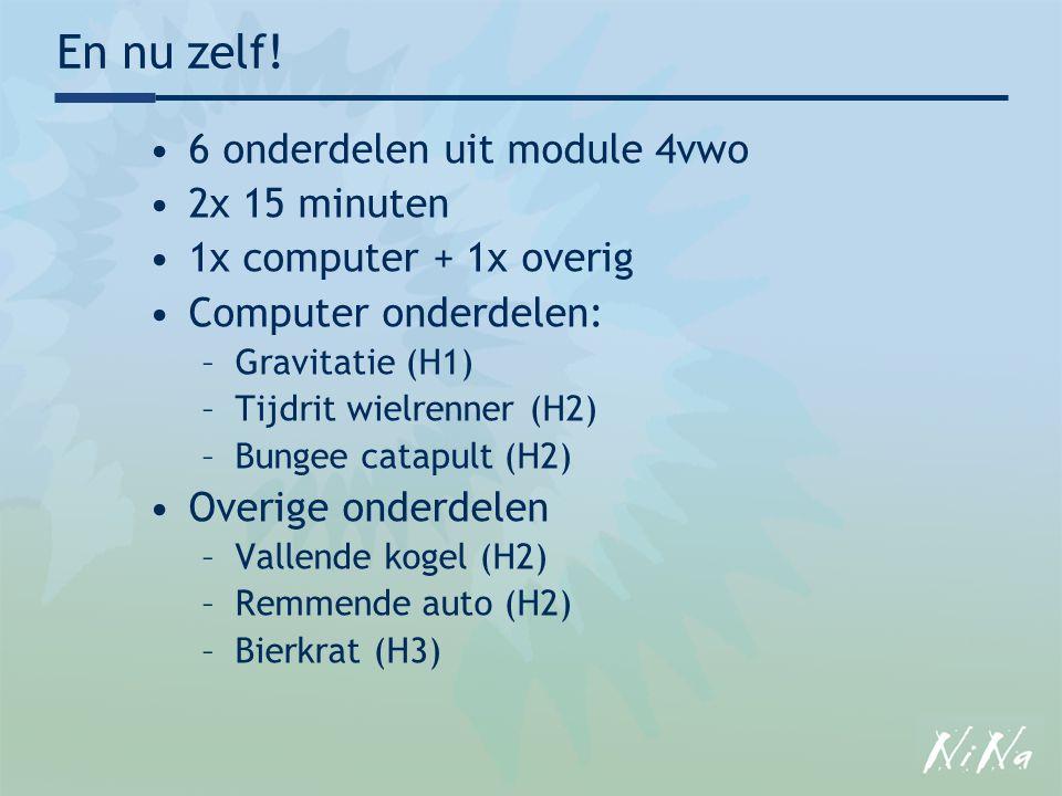 En nu zelf! 6 onderdelen uit module 4vwo 2x 15 minuten 1x computer + 1x overig Computer onderdelen: –Gravitatie (H1) –Tijdrit wielrenner (H2) –Bungee