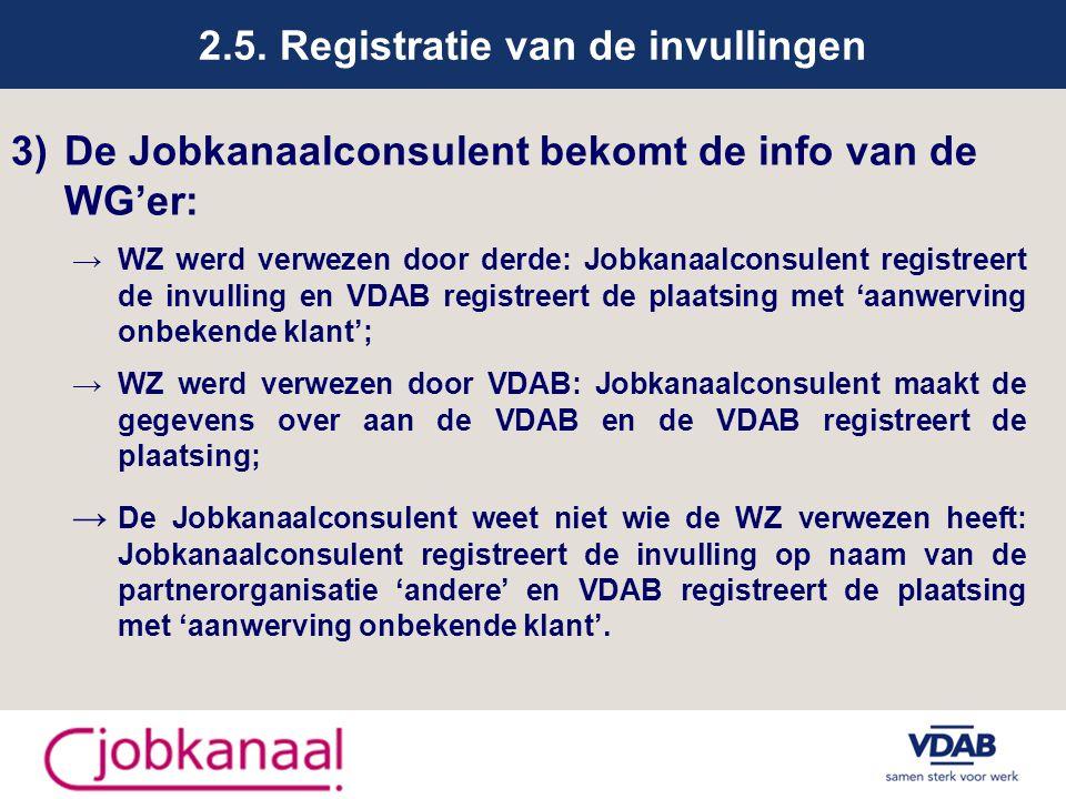 2.5. Registratie van de invullingen 3)De Jobkanaalconsulent bekomt de info van de WG'er: → WZ werd verwezen door derde: Jobkanaalconsulent registreert