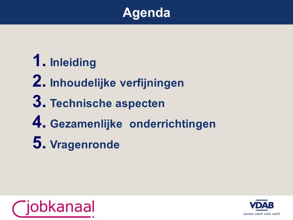 Agenda 1. Inleiding 2. Inhoudelijke verfijningen 3.