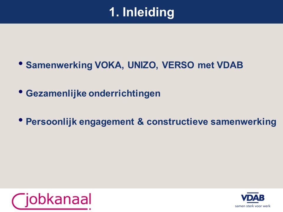 1. Inleiding Samenwerking VOKA, UNIZO, VERSO met VDAB Gezamenlijke onderrichtingen Persoonlijk engagement & constructieve samenwerking