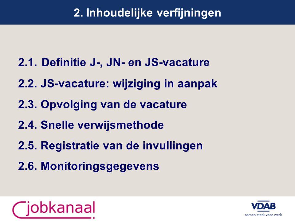 2. Inhoudelijke verfijningen 2.1. Definitie J-, JN- en JS-vacature 2.2.