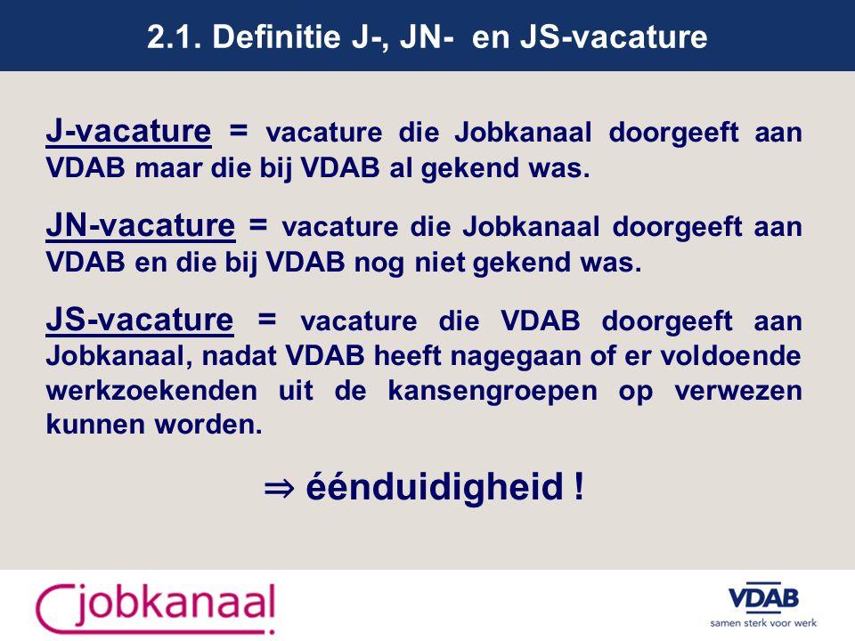 2.1. Definitie J-, JN- en JS-vacature J-vacature = vacature die Jobkanaal doorgeeft aan VDAB maar die bij VDAB al gekend was. JN-vacature = vacature d