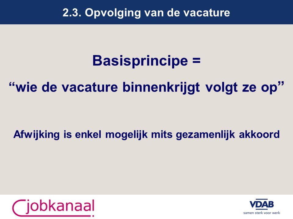 """2.3. Opvolging van de vacature Basisprincipe = """"wie de vacature binnenkrijgt volgt ze op """" Afwijking is enkel mogelijk mits gezamenlijk akkoord"""