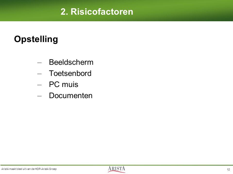 AristA maakt deel uit van de HDP-AristA Groep 12 2. Risicofactoren Opstelling –Beeldscherm –Toetsenbord –PC muis –Documenten