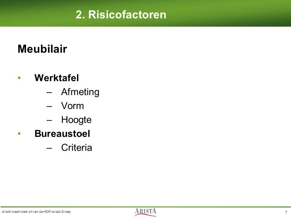 AristA maakt deel uit van de HDP-AristA Groep 7 2. Risicofactoren Meubilair Werktafel –Afmeting –Vorm –Hoogte Bureaustoel –Criteria