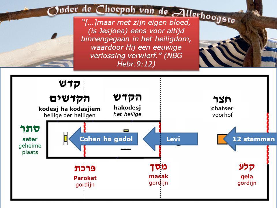 12 stammenLeviCohen ha gadol […]maar met zijn eigen bloed, (is Jesjoea) eens voor altijd binnengegaan in het heiligdom, waardoor Hij een eeuwige verlossing verwierf. (NBG Hebr.9:12)