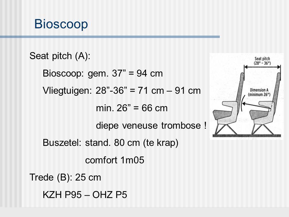 """Seat pitch (A): Bioscoop: gem. 37"""" = 94 cm Vliegtuigen: 28""""-36"""" = 71 cm – 91 cm min. 26"""" = 66 cm diepe veneuse trombose ! Buszetel: stand. 80 cm (te k"""