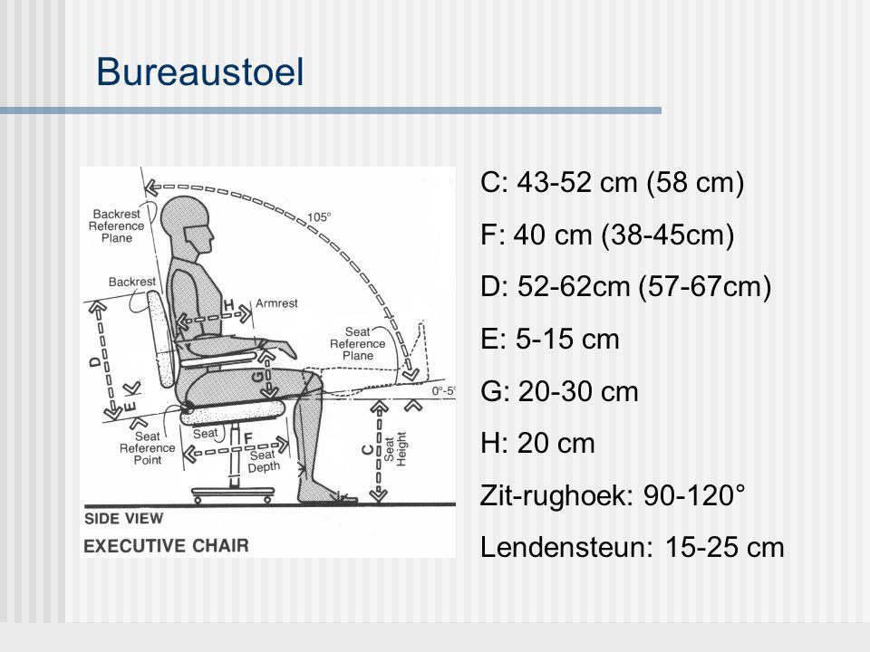 Bureaustoel C: 43-52 cm (58 cm) F: 40 cm (38-45cm) D: 52-62cm (57-67cm) E: 5-15 cm G: 20-30 cm H: 20 cm Zit-rughoek: 90-120° Lendensteun: 15-25 cm