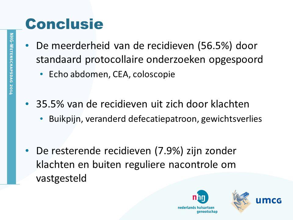 Conclusie De meerderheid van de recidieven (56.5%) door standaard protocollaire onderzoeken opgespoord Echo abdomen, CEA, coloscopie 35.5% van de reci