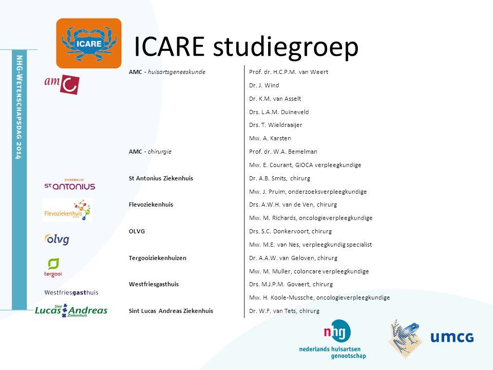 ICARE studiegroep AMC - huisartsgeneeskundeProf. dr. H.C.P.M. van Weert Dr. J. Wind Dr. K.M. van Asselt Drs. L.A.M. Duineveld Drs. T. Wieldraaijer Mw.