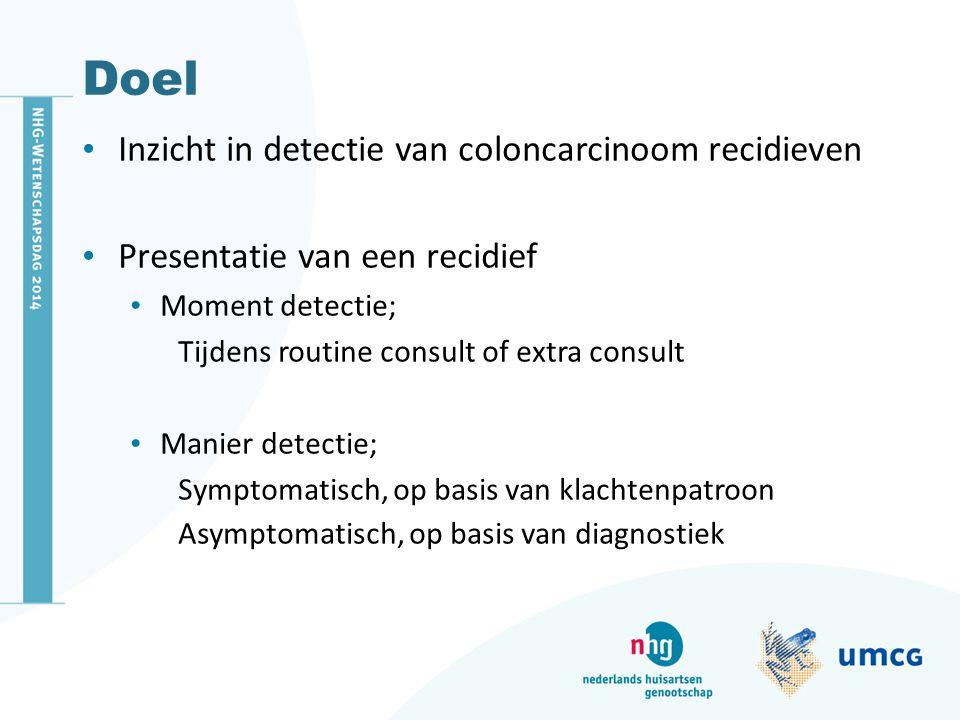 Doel Inzicht in detectie van coloncarcinoom recidieven Presentatie van een recidief Moment detectie; Tijdens routine consult of extra consult Manier d