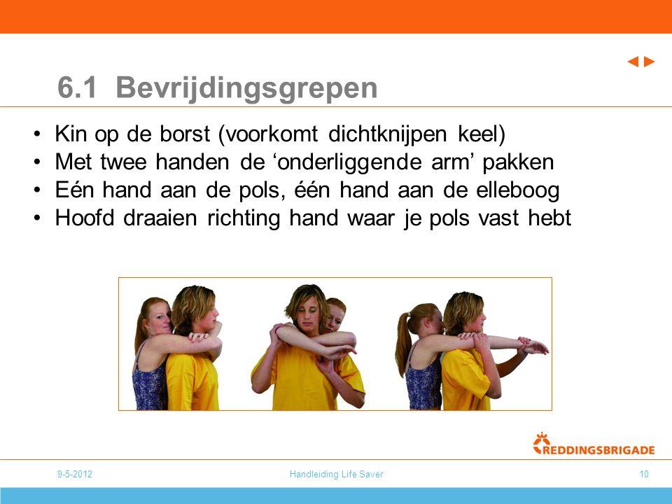 Handleiding Life Saver10 6.1 Bevrijdingsgrepen Kin op de borst (voorkomt dichtknijpen keel) Met twee handen de 'onderliggende arm' pakken Eén hand aan