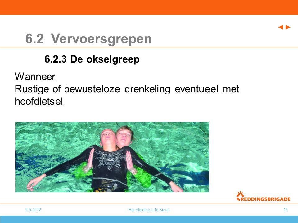 Handleiding Life Saver19 6.2 Vervoersgrepen 6.2.3 De okselgreep Wanneer Rustige of bewusteloze drenkeling eventueel met hoofdletsel 9-5-2012